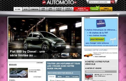 Homepage du site Auto Moto