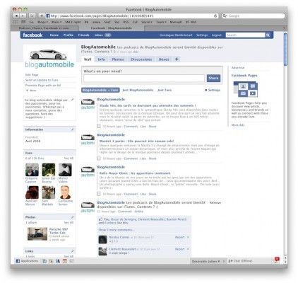 Page Facebook du Blog Auto