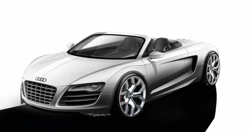 2010-Audi-R8-Spyder-Design-Sketch-Front-And-Side-Topless