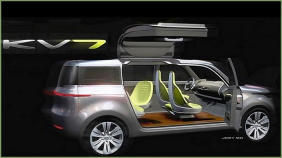 kia kv7 concept un crossover avec portes en ailes de. Black Bedroom Furniture Sets. Home Design Ideas