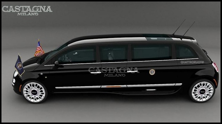 fiat 500 limousine by castagna milano une grande petite limousine pour un petit pr sident. Black Bedroom Furniture Sets. Home Design Ideas