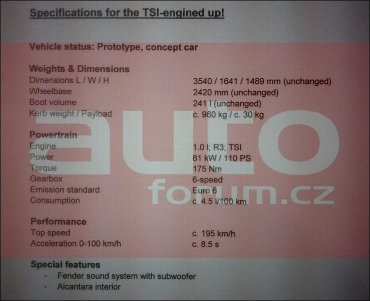VW UP GT spécifications