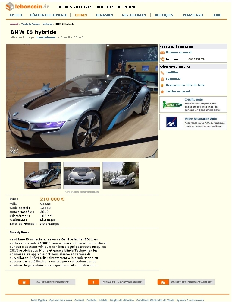 exclu a vendre bmw i8 mod le 2012 non homologu e 102 km au compteur blog automobile. Black Bedroom Furniture Sets. Home Design Ideas
