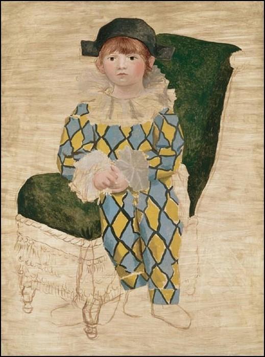 paul-en-harlequin-1924-Pablo Picasso