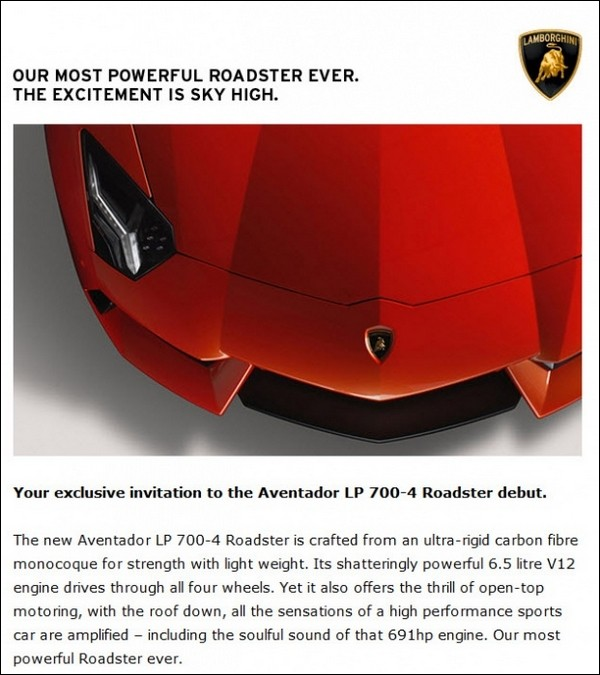Lamborghini Aventador Roadster Flyer invitation