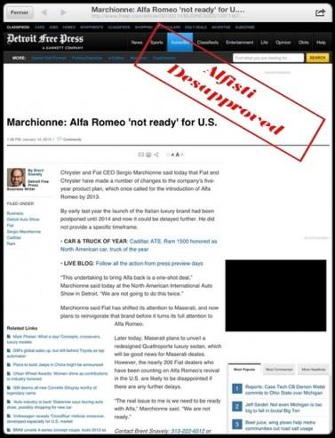 Alfa Romeo n'est pas prêt pour les USA