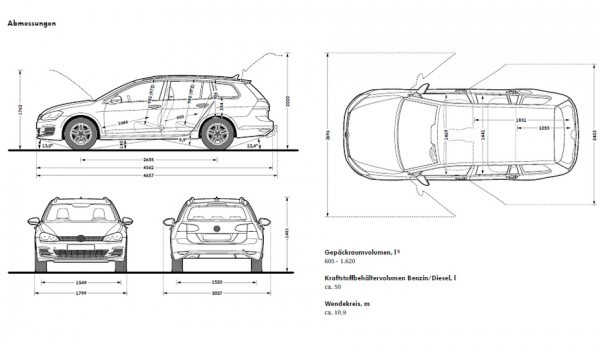 VW Golf SW 2013 dimensions