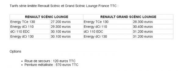 Renault Scenic Lounge. Prix