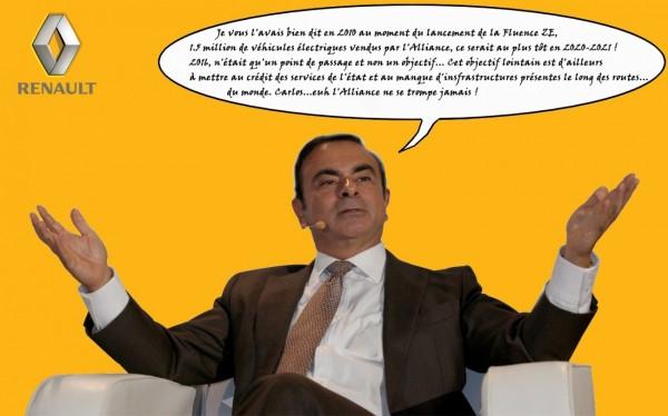 Carlos Ghosn reporte son objectif pour voitures électriques Renault à 2020 ou 2021 au plus tôt