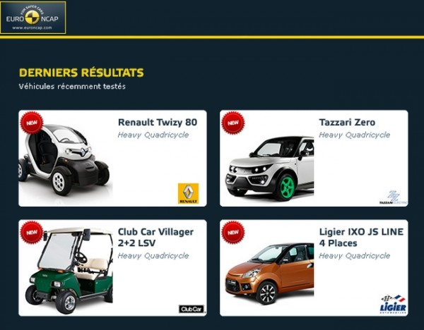 EuroNCAP quadricycle lourd