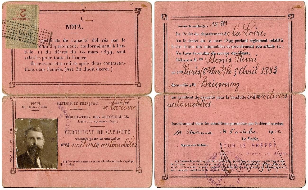 Permis de conduire français 1922