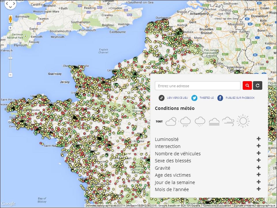 Sécurité Routière France 2012 - tous les accidents répertoriés