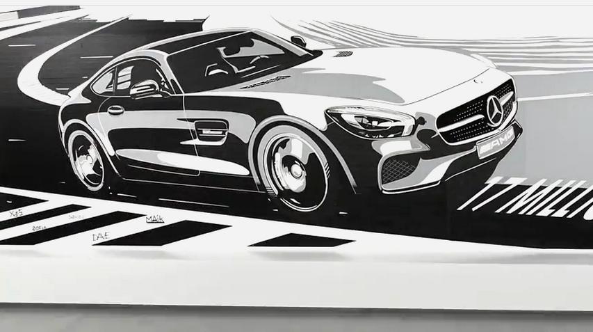 Mercedes benz un coup amg gt en bandes adh sives for Mercedes benz fans