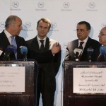 French Foreign Minister Fabius, French Economy Minister Macron, Algerian Industry Minister Bouchouareb and Algerian Foreign Minister Lamamra attend a news conference in Oran