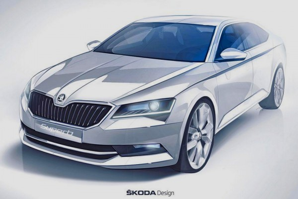 teaser sketch Skoda Superb 2015